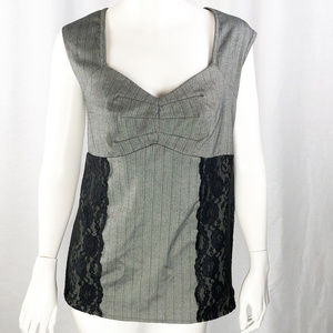 Grey and Black Lace fitted Tank Top